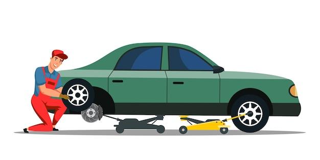 Autoreparatieservice voor het vervangen van wielen