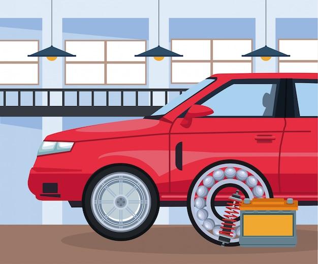 Autoreparatiewerkplaats met rode auto en batterij en remschijf