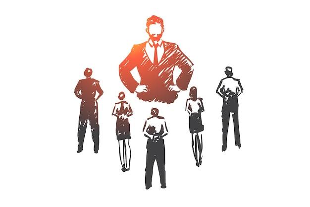 Autoritaire baas, werk, dictator, leider, drukconcept. hand getekende strikte baas en ondergeschikten concept schets.