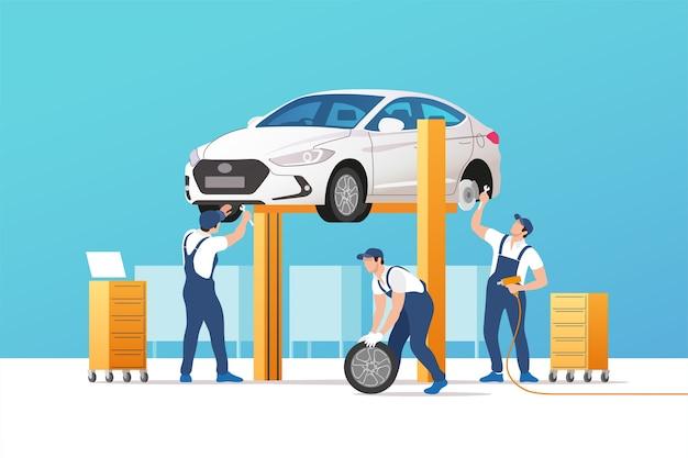 Autoservice en reparatie illustratie