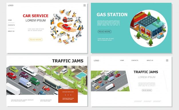 Autoservice- en verkeersopstoppingswebsites met arbeiders repareren en repareren auto's van benzinestations die op een tankstation rijden