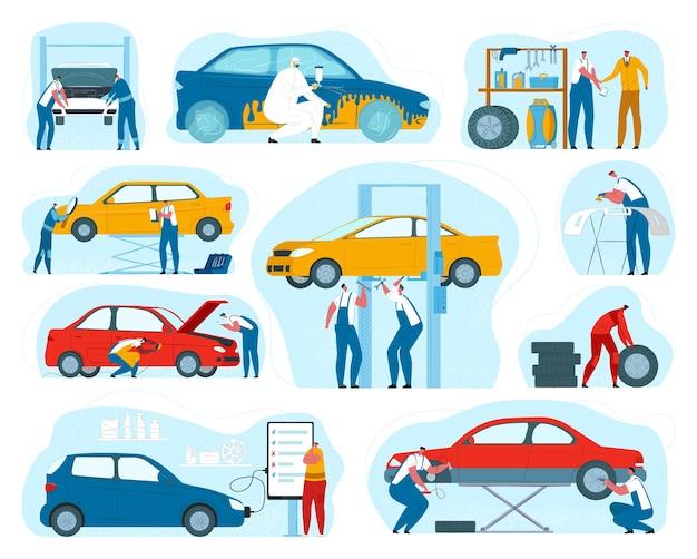 Autoservice, monteur en auto-onderhoudsreparatie, bandenservice