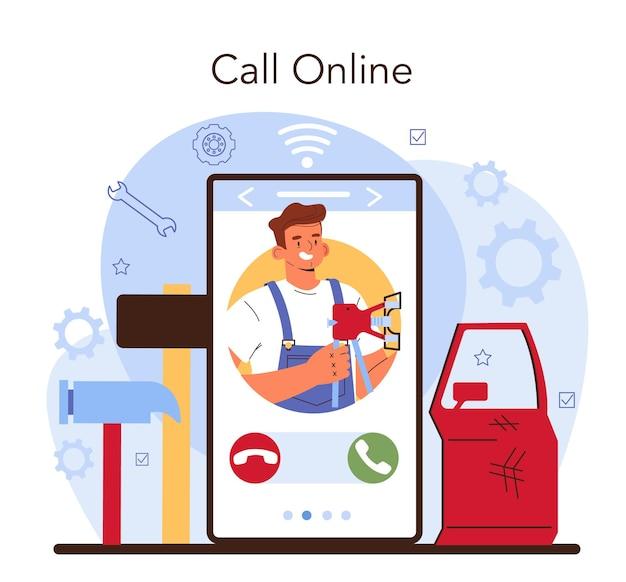 Autoservice online service of platform. auto is gerepareerd in de garage. monteur in uniform controleert een voertuig. online bellen. platte vectorillustratie.