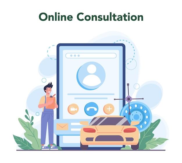 Autoservice online service of platform. mensen repareren auto
