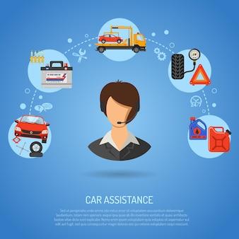 Autoservice, pechhulp en onderhoudsbanners met platte pictogrammen operator, autoreparatie, bandenservice, ondersteuning en sleepwagen. vector illustratie
