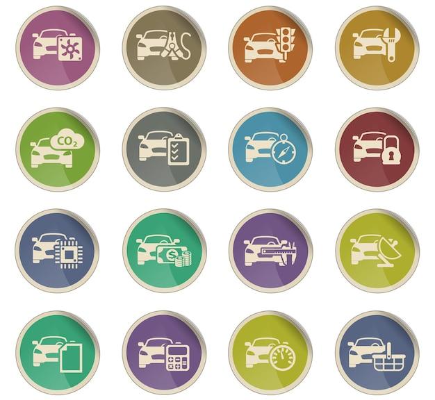 Autoservice vectorpictogrammen in de vorm van ronde papieren etiketten