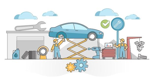Autoservicewerkzaamheden voor mechanisch onderhoud van voertuigen en fix outline concept