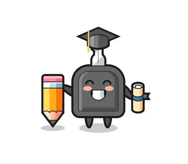Autosleutel illustratie cartoon is afstuderen met een gigantisch potlood, schattig stijlontwerp voor t-shirt, sticker, logo-element