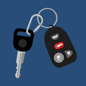 Autosleutel op ketting met zwart automatisch toegangs hangslot alarmbeveiligingssysteem