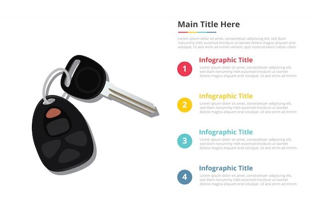 Autosleutels infographics sjabloon met vier punten