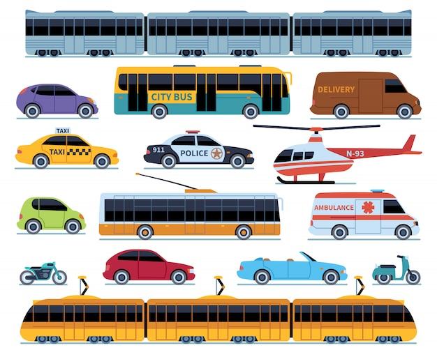 Autotransportset. voertuigen stadsvervoer. auto's vrachtwagens scooters motorfiets bus. zijaanzicht auto geïsoleerde set