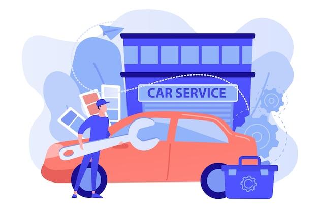 Autotuner met moersleutel en gereedschapskist die voertuigmodificatie doet bij autoservice. autotuning, carrosseriebouw, upgradeconcept voor automuziek
