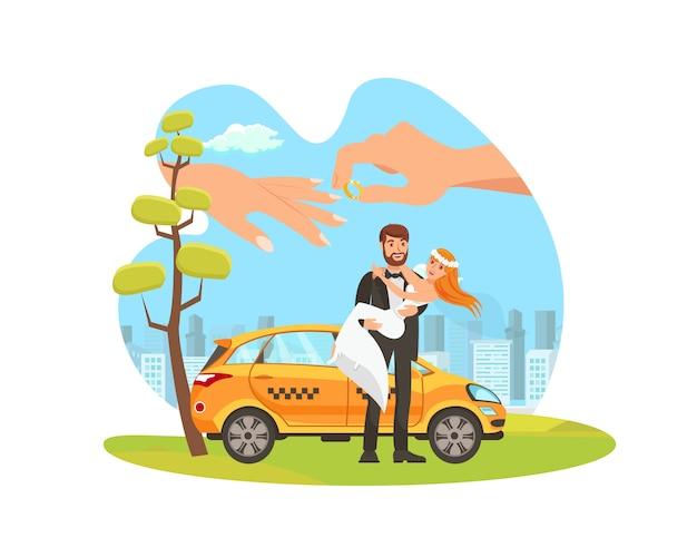 Autoverhuur voor het wieden van platte cartoon illustratie