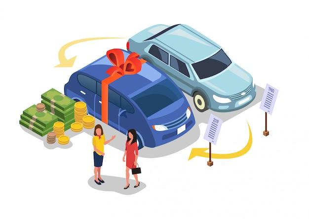 Autoverkopen of kopen, geld betalen voor voertuig.