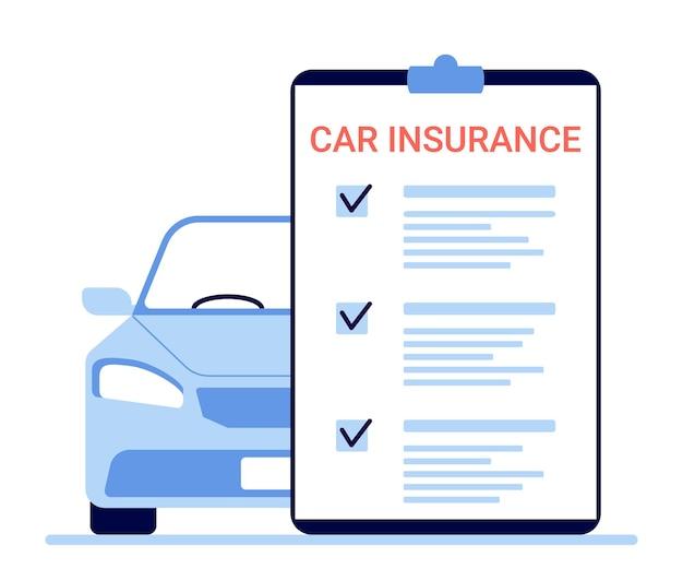 Autoverzekering, auto claim document. onroerende voorheffing van het voertuig tellen. vector illustratie