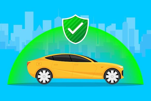 Autoverzekering beschermen auto botsingsverzekering illustratie