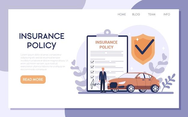 Autoverzekering webbanner of bestemmingspagina. idee van veiligheid en bescherming van eigendom en leven tegen schade. veiligheid tegen een ramp.