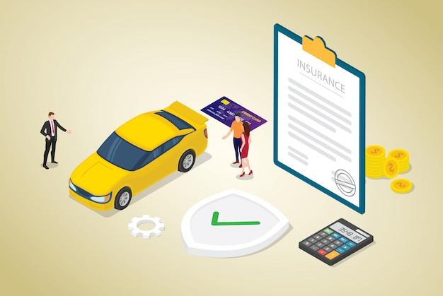 Autoverzekeringsconcept met auto en contractdocument met teammensen en moderne isometrische vlakke stijl