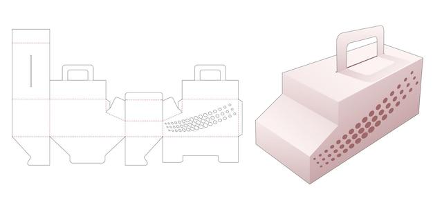 Autovormige doos met houder en gesjabloneerde halftoonstippen gestanst sjabloon
