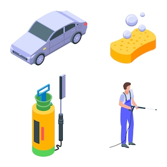 Autowassen iconen set, isometrische stijl