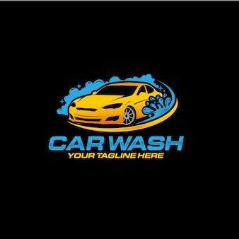 Autowassen logo ontwerp premium vector