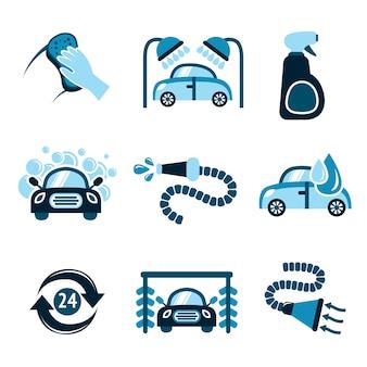 Autowassen pictogrammen