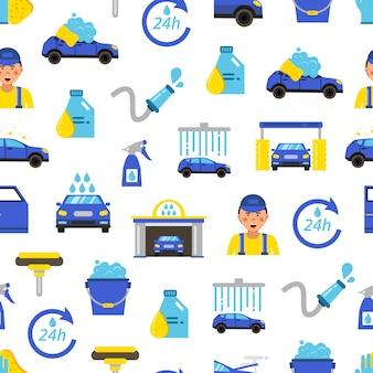 Autowasserette plat pictogrammen patroon, auto service concept, voertuig station auto