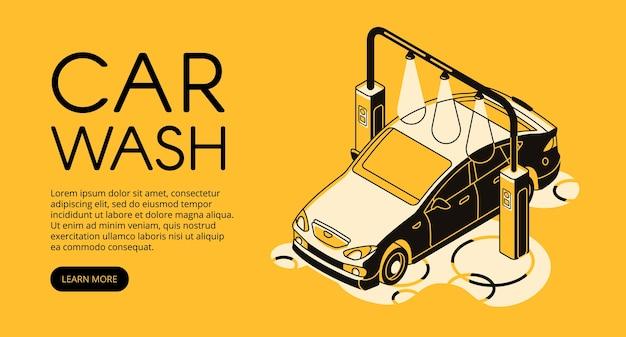 Autowasserettedienstillustratie van automobiele auto schoonmakende post.