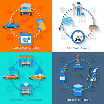 Autowasservice pictogrammen plat