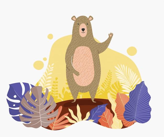 Autumn bear en bladerenbeeldverhaal vlakke illustratie.