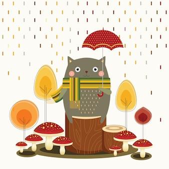 Autumn cat holding umbrella
