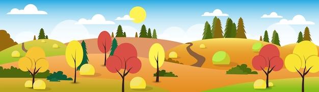 Autumn landscape forest road blue cloud sky tree
