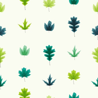 Autumn leaves seamless pattern background illustration