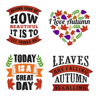 Autumn quote and saying set