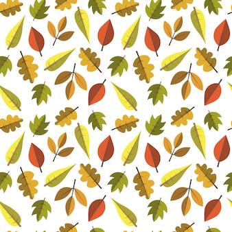Autumn seamless pattern leaves ornament fall season