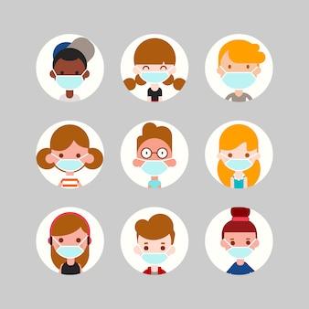 Avatar-collectie voor tieners en kinderen. schattige kinderen, jongens en meisjes gezichten dragen medische gezichtsmasker. platte ontwerp stijl cartoon afbeelding.