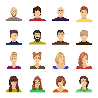 Avatar en gezicht cartoon ingesteld pictogram. mensen van portret geïsoleerd cartoon ingesteld pictogram. avatar en gezicht.