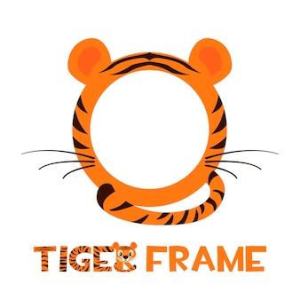 Avatar frame tijger, ronde dierlijke sjabloon voor spel.
