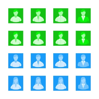 Avatar gebruiker pictogrammen web egale kleuren gezicht vector verzameling van avatars voor web en mobiel