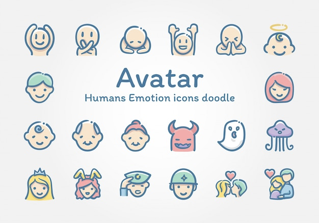 Avatar humans emotion pictogrammen doodle