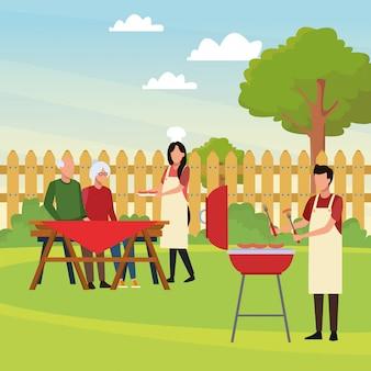 Avatar man en familie in een picknicktijd