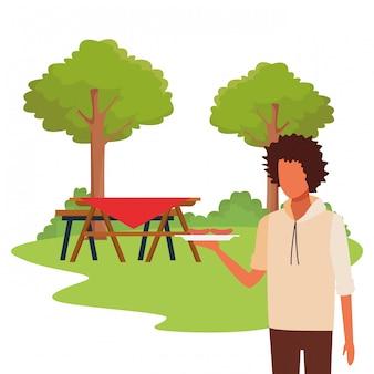 Avatar man in een picknick