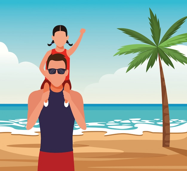 Avatar man met een klein meisje op zijn schouders op het strand
