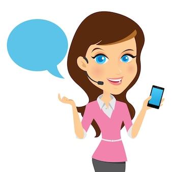 Avatar meisje contacteer ons informatie service vector illustratie