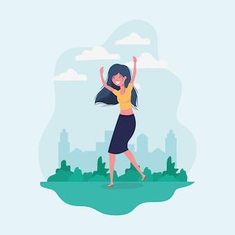 Avatar meisje dat in het park springt
