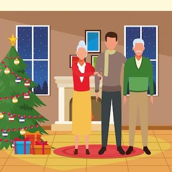Avatar oud paar en mannen, vrolijke kerstmisillustratie