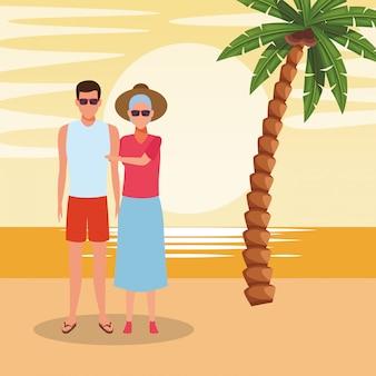 Avatar oude vrouw en man op het strand