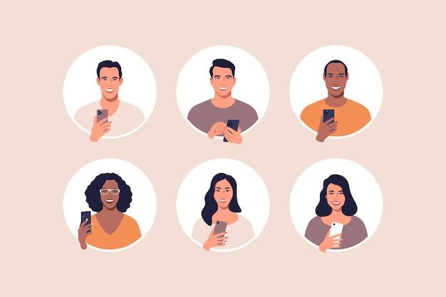 Avatar profielfoto icon set inclusief mannelijke en vrouwelijke vectorillustratie