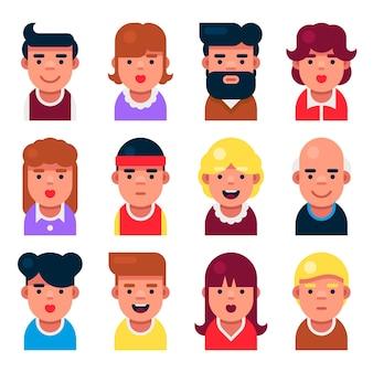 Avatar userpic set. schattige stripfiguren instellen voor gebruikersprofiel.