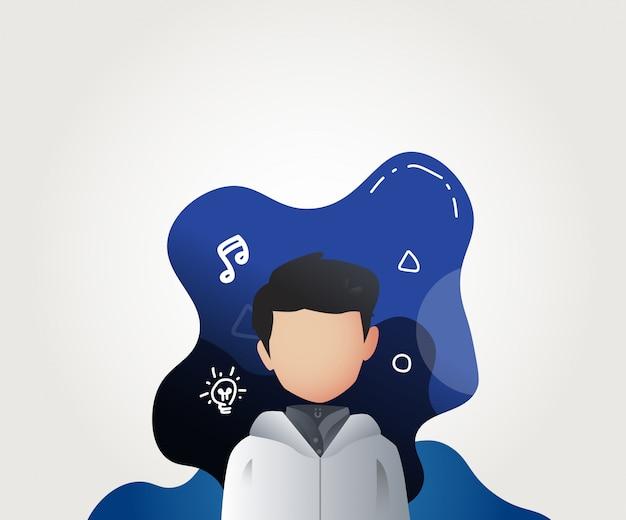 Avatar van de jonge mensenprofiel illustratievector